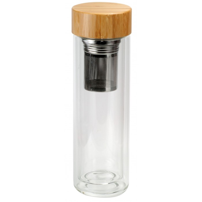 Double walled Glass to go mug 380ml with bamboo lid